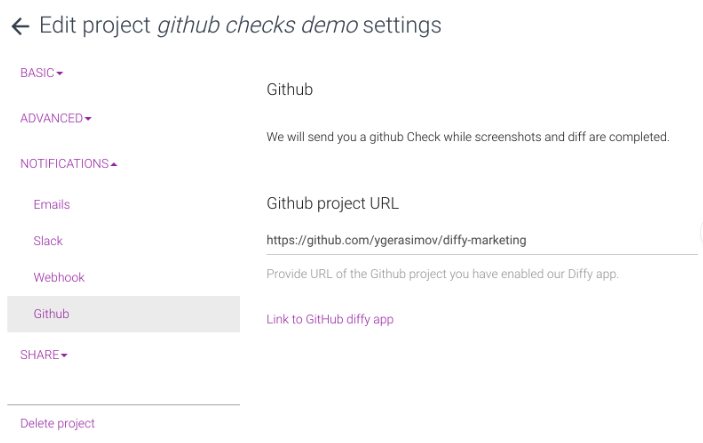 github integration project settings