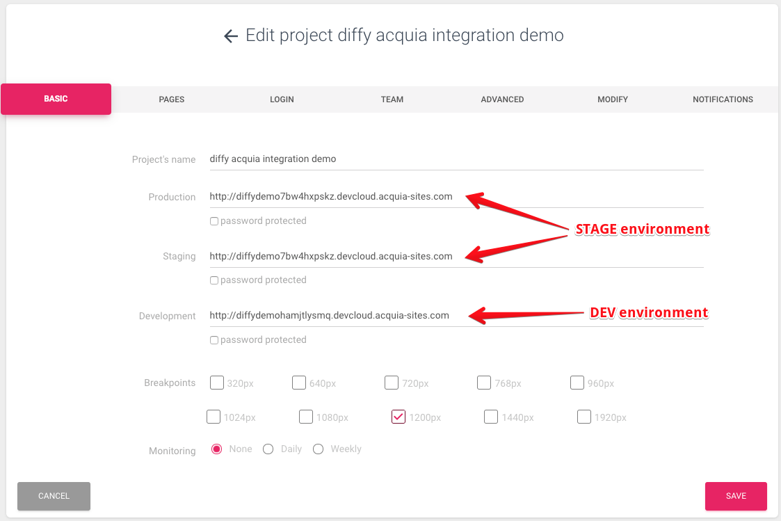 Diffy project configuration Acquia